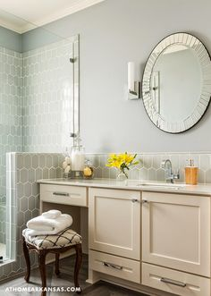 Bathroom with gray tiling. Kathryn LeMaster, At Home in Arkansas via House of Turquoise Wood Like Tile Flooring, Wood Parquet, House Of Turquoise, Bathroom Inspiration, Bathroom Ideas, Bathroom Tiling, Bathroom Layout, Bathroom Shelves, Bath Ideas