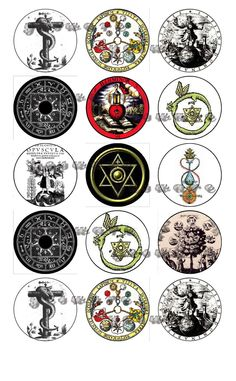 "ALCHEMY Symbols wicca pagan Digital 1"" Bottle Cap Images on a 4x6 Collage Sheet for Crafts or Scrapbooking. $2.75, via Etsy."