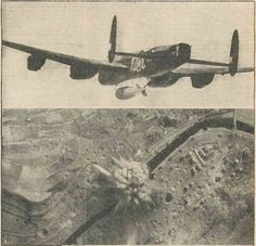 The 22000lb Bomb of the RAF lives up to its nickname Grand Slam.  The picture shows one leaving on a #WW2 #Lancaster bomber during an attack on the famous viaduct at Arnsberg south east of Hamm on March 29th 1945 and another picture showing the bomb exploding on the target.