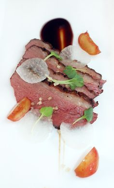 FIVE-SPICED DUCK BREAST  cherry hoisin - daikon - ginger salt - pickled cherries...anyone's guess as to the last ingredient.