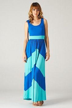 Aqua Tank Colorblock Maxi Dress