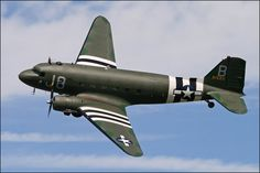 """'Goonie-bird'  Douglas C47 - The military version of the DC3. Workhorse of the Allied forces during WW2. Used to transport cargo, as a troop transport, to tow gliders as well as a platform for paratroopers. Was used in both the European and Pacific theaters as well as Burma/India airlift over the """"Hump"""""""