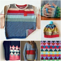 sources: scrappy sweater. checkerboard mitts. adorable hat with perfect pompom. triangles. colour block sweater. pink and navy triangle sweater.