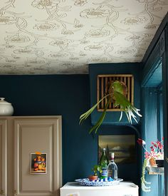 Rental Kitchen Before & After: A New Color Scheme and a Wallpapered Ceiling! Home Wallpaper, Wallpaper On The Ceiling, Bedroom Ceiling Wallpaper, Wallpaper Patterns, Wallpaper Ideas, Rental Kitchen, Temporary Wallpaper, Ceiling Treatments, Ceiling Design