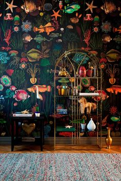 European designer wallpaper / wall covering panel - feature wall - ocean sea life underwater world exotic tropical fish black green - A designer wallcovering that is printed with environmentally friendly inks on a high-quality nonwov - Wallpaper Wall, Ocean Wallpaper, Wallpaper Panels, Wallpaper For House, Bathroom Wallpaper Fish, Underwater Wallpaper, Beautiful Wallpaper, Black Wallpaper, Underwater World