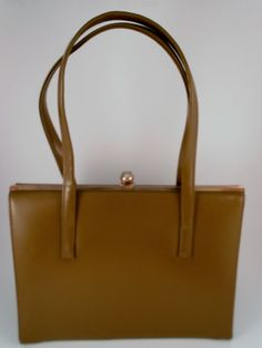 1960's Vintage Handbag  Double Strap Tan Khaki by ZealousStyle, $32.00