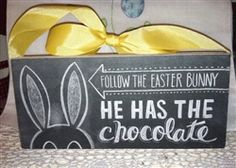 CUTEST Chalkboard Style Box Sign Follow The Easter Bunny He Has the Chocolate $15.99
