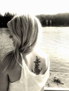 Anchor by Rene Helm of Kreuz & Quer Tattoo in Doebeln, Germany.  replace with a ship's helm and compass and this is what I want.