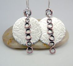 Mixed Metal Earrings Silver Disc Earrings Metal by TouchOfSilver