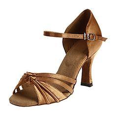 Minitoo Womens TH045 Strapyy Knot Bronze Satin Wedding Ballroom Latin Taogo  Dance Sandals 9 M US 37ebb11b7