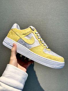 The Golden Silk Air Force 1 by spadexcustom Fake Shoes, Bling Shoes, Air Force 1, Nike Air Force, Lil Uzi Vert Style, Personal Logo, High Level, Silk Fabric, Trust