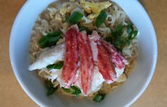 Ramen noodles with Seatech Chilean King Crab Meat, an egg and sliced green onion