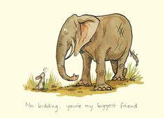 My Biggest Friend Card by Anita Jeram - Two Bad Mice Anita Jeram, No Kidding, Big Friends, Bunny Art, Elephant Art, Children's Book Illustration, Penny Black, Cute Cartoon, Cute Drawings