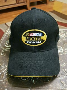 NASCAR NEXTEL CUP SERIES Soft Black CAP HAT Sprint Gold Brim #NISSIN