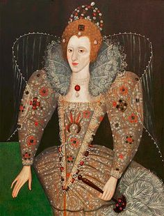Queen Elizabeth I by British (English) School Date painted: Oil on panel, 114 x 88 cm Collection: Compton Verney Elizabeth I, Elizabeth Bathory, Renaissance Mode, Renaissance Fashion, Renaissance Clothing, Historical Costume, Historical Clothing, Compton Verney, 16th Century Fashion