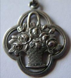 Antique German Art Nouveau Silver Basket Flower Bouquet Charm or Pendant Lovely | eBay