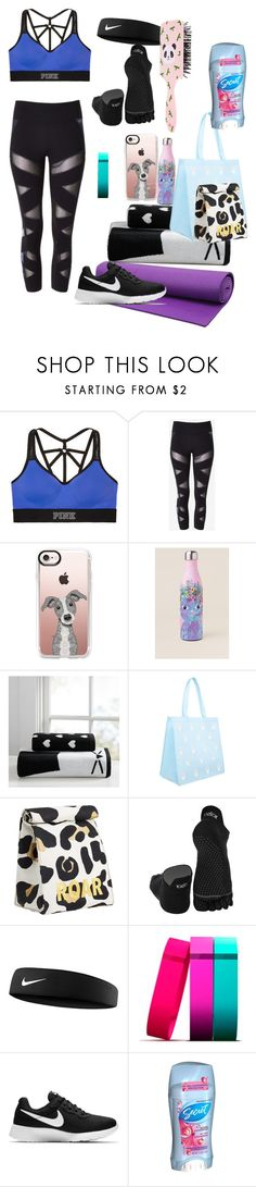 """Yoga class Lauren"" by ines-moreno ❤ liked on Polyvore featuring Victoria's Secret, Express, Casetify, PBteen, Forever 21, ToeSox, NIKE, Fitbit and Secret"