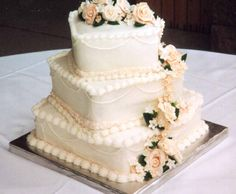 square wedding cakes with flowers - Google Search