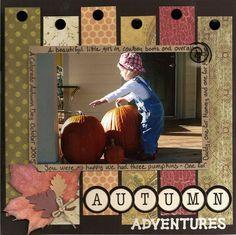 1 photo 1 page scrapbook layout Autumn Adventures. Album Scrapbook, Scrapbook Sketches, Scrapbook Page Layouts, Baby Scrapbook, Scrapbook Paper Crafts, Simple Scrapbooking Layouts, Digital Scrapbooking Freebies, Foto Fun, Halloween Scrapbook