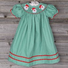Smocked Santa Face Bishop Green Honeycomb by Classic Whimsy