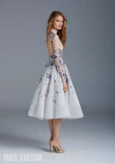 Illusion gown with bishop sleeves and nightingale embroideries, Paolo Sebastian