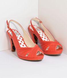 acb7aa34028 Bettie Page Vintage Style Red Selene Heels