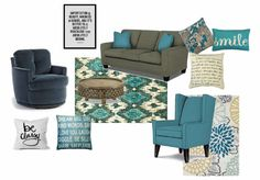 Teal and Turquoise color inspiration. Featuring the Skipper swivel chair, Annabelle sofa, and Karla wing back chair from Best Home Furnishings.