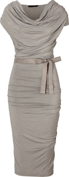 Donna Karan New York Gray Hemp Draped Jersey Dress with Belt