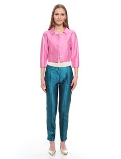 Giacca spencer in shantung, rosa -