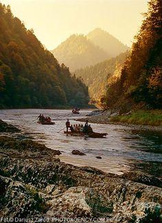 Rafts on Dunajec River, Pieniny Mountains.