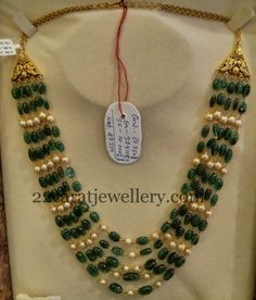Jewellery Designs: Emeralds Pearls Haram 70gms