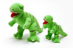 Original and fabulous knitted T Rex + baby. Ethical toys.
