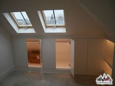 Loft conversion case study in Putney, London Front dormer loft conversion creating bedroom with ensuite. Clever storage solutions with lights. New staircase to loft. Attic Bedroom Storage, Attic Bedroom Designs, Loft Storage, Attic Bedrooms, Attic Bathroom, Bedroom With Ensuite, Bedroom Loft, Attic Design, Eaves Bedroom