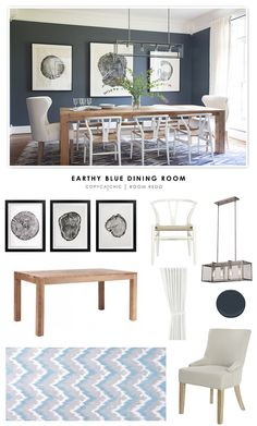 An Earthy Blue Dining Room designed by Hannah Crowell and featured in Lonny Magazine recreated for less by Copy Cat Chic. by @audreycdyer