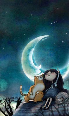 Moonlit kitties, 2019 gatos, buenas noches ve ilustraciones. Art And Illustration, Illustrations, Cute Good Night, Good Night Sweet Dreams, Image Chat, Beautiful Moon, Moon Art, Whimsical Art, Cat Art