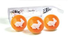 Orange Metallic Golf Balls with White Easter Bunny Imprint- by Navika Golf Gifts.