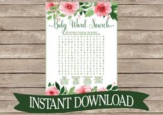 Floral Baby Shower Game Word Search Instant by celebrateitparties