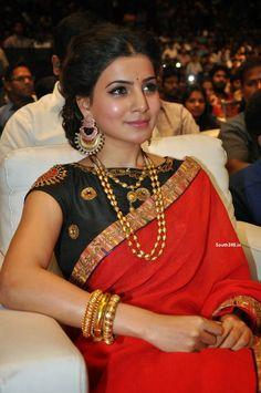 samantha ruth prabhu 2015 - Google Search Bridal Blouse Designs, Saree Blouse Designs, Sari Blouse, Kurta Patterns, Blouse Patterns, Saree Jewellery, Maggam Work Designs, Sumo, India Jewelry