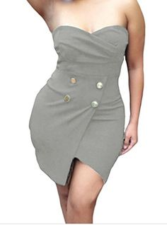FQHOME Womens Gray Strapless Wrapped Mini Dress Size S ** Details can be found at