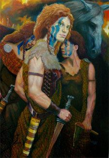 A beautiful painting of Boudica and her young daughters