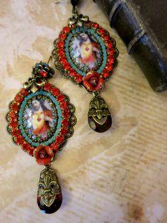 """Boucles style romantique rouge """"Sacré coeur de Jésus """" : Boucles d'oreille par lorenza"""