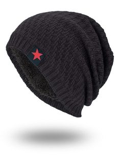 Star Label Embellished Stripy Thicken Knit Hat. Mens Cowboy HatsCheap ... 9686a26043a9