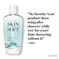 Avon Skin So Soft Bath Oil is a jojoba infused bath oil. Herbal scent awakens and relaxes your sense. Opens pores for maximum moisture absorption. Mascara, Avon Skin So Soft, Avon Catalog, Root Touch Up, Avon Online, Influencer, Avon Representative, Facial Oil, Medium