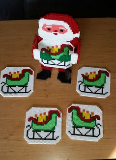 Santa Claus - Christmas coaster set perler beads by Frank Peter