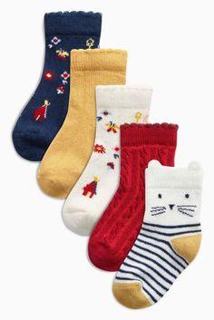Cream/Navy Harvest Socks Five Pack (Younger Girls)