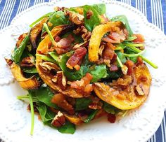 """Crispy Butternut Squash Spinach Salad with Bacon-Shallot Vinaigrette - """"Use this bacon dressing to make greens or any roasted vegetable instantly taste so much better."""" - (The squash is warm, the spinach is cold, and the dressing is warm.)"""