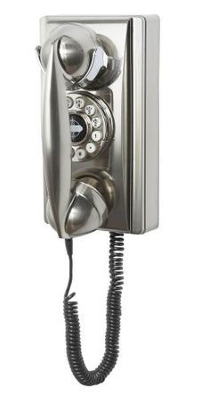 Add cool chrome style to your living room, kitchen, or even an office with the 302 wall phone from Crosley. A wonderful replica of a phone, this brushed chrome wall phone also features push button dialing and other contemporary features. Retro Phone, Old Country Stores, Mid Century Style, Fashion Plates, Office Gifts, Vintage Walls, Landline Phone, Retro Vintage, Vintage Silver