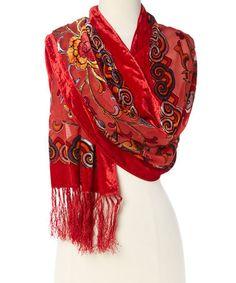 Love this Red & Yellow Floral Silk-Blend Scarf on #zulily! #zulilyfinds