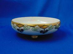 "Moritz Zdekauer (MZ) Austria Arts & Crafts Grape Motif Footed Dish (Signed ""V.H.""/c.1884-1920)"