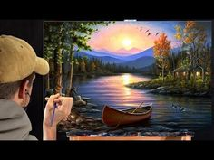 Acrylic Landscape Painting Time-lapse | Sunset at the lake - YouTube